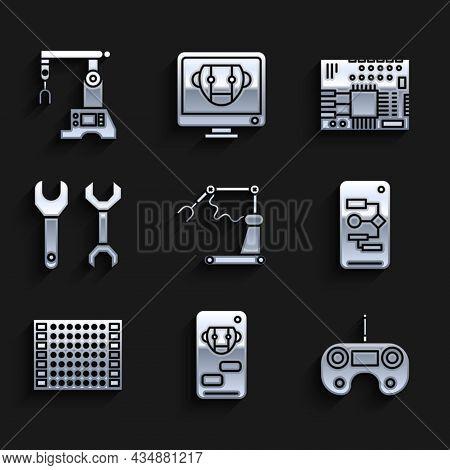 Set Industrial Machine Robotic Robot Arm Hand Factory, Bot, Remote Control, Algorithm, Printed Circu