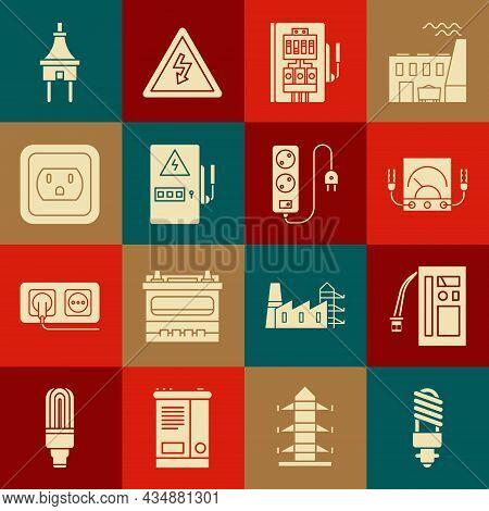 Set Led Light Bulb, Battery, Ampere Meter, Multimeter, Voltmeter, Electrical Panel, Outlet In The Us