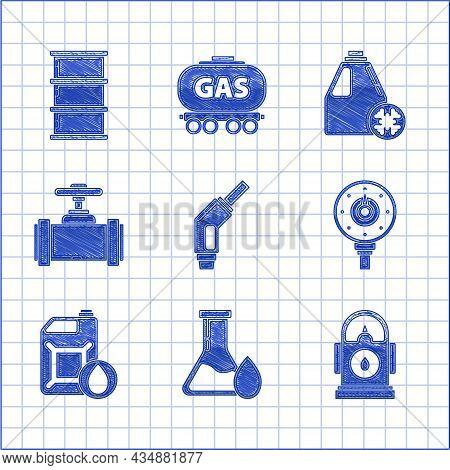 Set Gasoline Pump Nozzle, Oil Petrol Test Tube, Petrol Or Station, Motor Gas Gauge, Canister For Mot