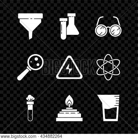 Set Funnel Or Filter, Test Tube And Flask Chemical, Laboratory Glasses, Alcohol Spirit Burner, Glass