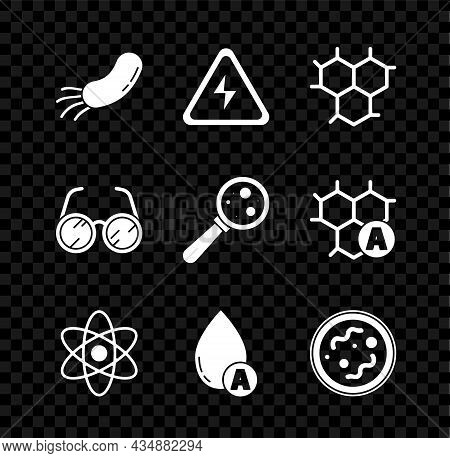 Set Bacteria, High Voltage Sign, Chemical Formula, Atom, Water Drop, Laboratory Glasses And Microorg