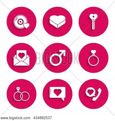Set Male Gender Symbol, Like And Heart, Telephone With Speech Bubble, Wedding Rings, Envelope, Key S