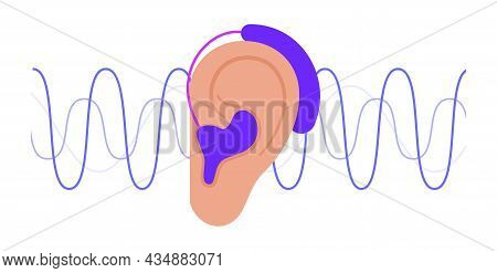 Human Hearing Aid Icon. Ear Sound Receiver Concept. Hearing Loss Problems. Deafness Problems Isolate
