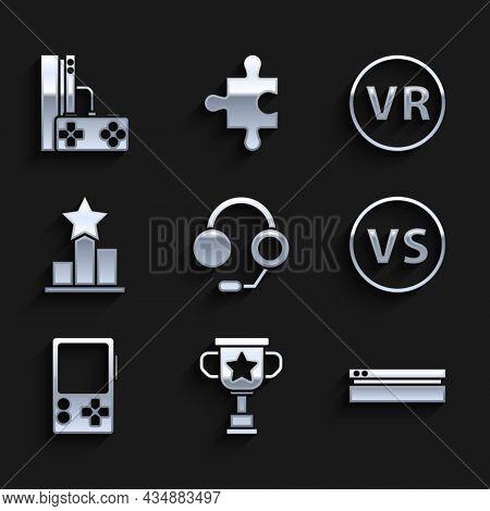 Set Headphones, Award Cup, Video Game Console, Vs Versus Battle, Portable Video, Star, Virtual Reali