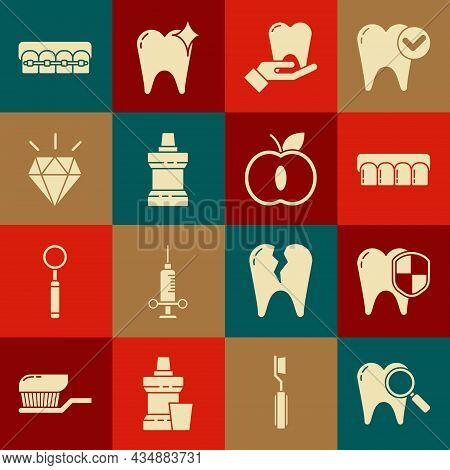 Set Dental Search, Protection, Dentures Model, Tooth, Mouthwash Plastic Bottle, Diamond Teeth, Teeth