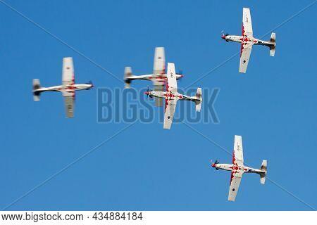 Varazdin, Croatia - July 12, 2015: Military Trainer Plane At Air Base. Air Force Flight Training. Av