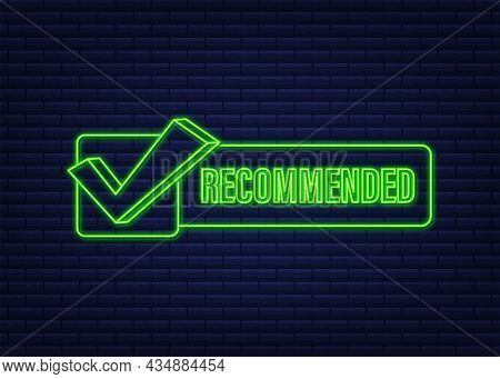 Recommend Icon. Neon Label Recommended On Dark Blue Background. Neon Icon. Vector Stock Illustration