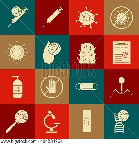 Set Dna Symbol And Virus, Bacteria Bacteriophage, Clipboard With Blood Test Results, Virus, Blood, S