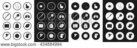 Set Medicine Pill Or Tablet, Virus Under Magnifying Glass, Pipette, Medical Protective Mask, Cells L