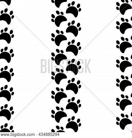 Flat Cartoon Animal Footprint Silhouette Seamless Pattern. Cat Or Dog Foot, Unknown Animal. Black Pr
