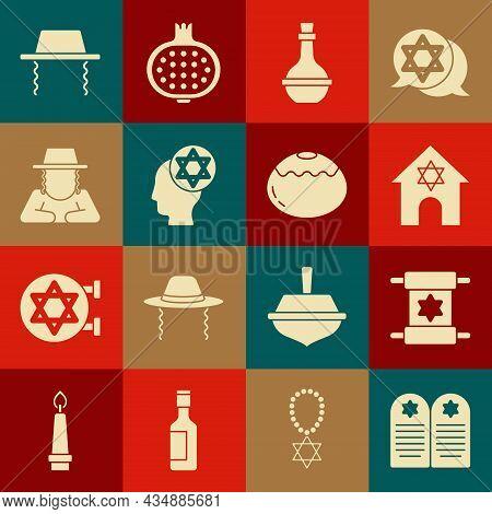 Set Tombstone With Star Of David, Torah Scroll, Jewish Synagogue, Wine Bottle, Orthodox Jewish Hat,