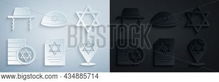 Set Torah Scroll, Star Of David, Jewish Coin, Kippah And Orthodox Jewish Hat Icon. Vector
