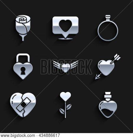 Set Heart With Wings, Shape Flower, Bottle Love Potion, Amour Heart And Arrow, Healed Broken, Castle