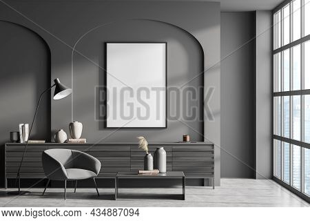 Empty Canvas In Dark Grey Living Room Interior With Wall Arches, Panoramic Window, Armchair, Coffee
