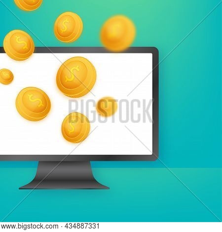 Golden Coin Jackpot Win On Gold Background. Vector Icon. Golden Background. Casino On Monitor Jackpo