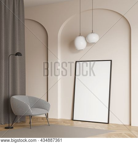 Living Room Interior With Standing Canvas In Beige Wall Arch, Chequered Armchair, On Trend Lamps, Cu