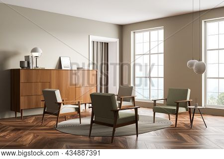 Corner Of Light Green Living Room Interior With Four Armchairs, Two Windows, Sideboard, Doorway, Rou