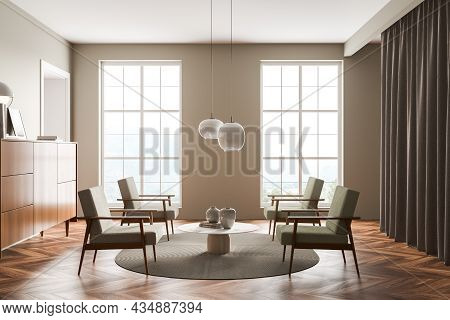 Light Green Living Room Interior With Four Armchairs, Two Windows, On Trend Pendant Lamps, Sideboard