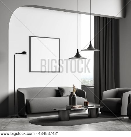 Corner Of On Trend Living Room Interior With Empty Mockup Square Frame And White And Grey Design. Ar