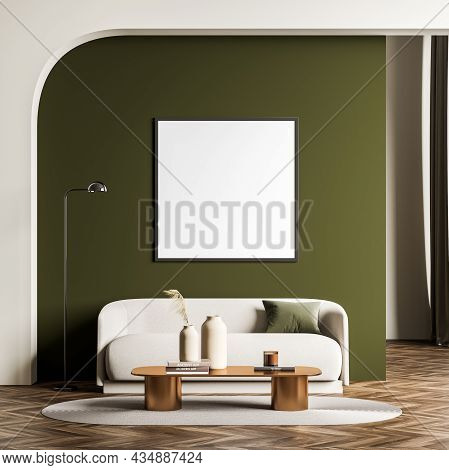 Square Canvas In The Living Room Interior With Green And Beige Design. Archway Over Sofa With Coffee