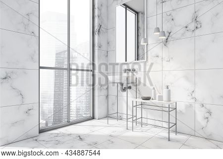 Bathroom Interior With Frame Vanity Units, A Sink, A Mirror, A Side Table And Three Pendant Lights.