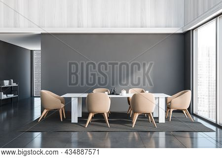 Panoramic Grey Dining Room Interior With An Empty Wall, Six Beige Chairs, A White Wood Table And A S