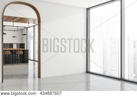 White Panoramic Interior With An Archway, An Empty Wall, Concrete Flooring, Wood Details And A Styli