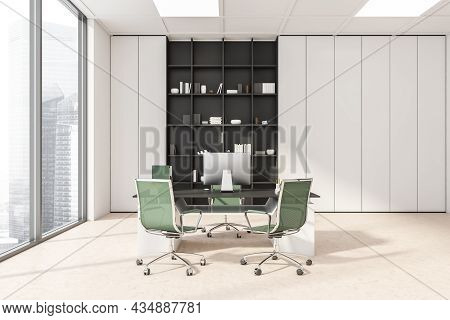 White And Beige Panoramic Office Interior With Green Rolling Chairs, A Cabinet With Open Shelving Ar