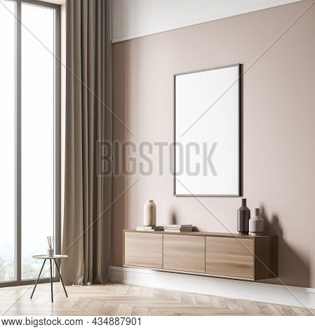 Corner Of Beige Panoramic Living Room Interior With Empty White Canvas On Wall, On Trend Wood Sidebo