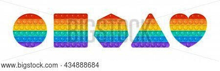 Popit vector toy, rainbow push bubbles, sensory game, fidget set. Antistress finger gadget. Colorful pop it collection isolated on white background. Trendy kids illustration