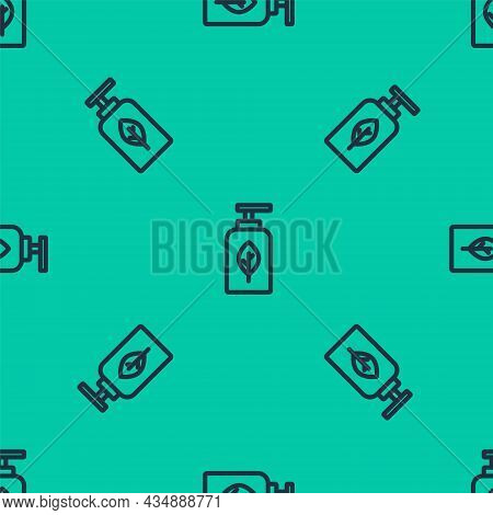 Blue Line Essential Oil Bottle Icon Isolated Seamless Pattern On Green Background. Organic Aromather