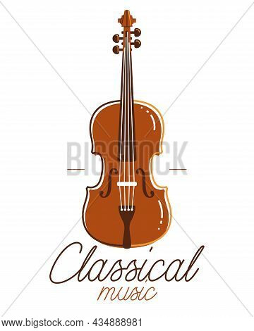 Classical Music Emblem Or Logo Vector Flat Style Illustration Isolated, Cello Logotype For Recording