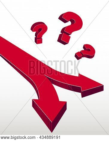 Two Roads Opportunities Options Vector Illustration, Concept Of Doubt And Uncertainty To Make A Deci