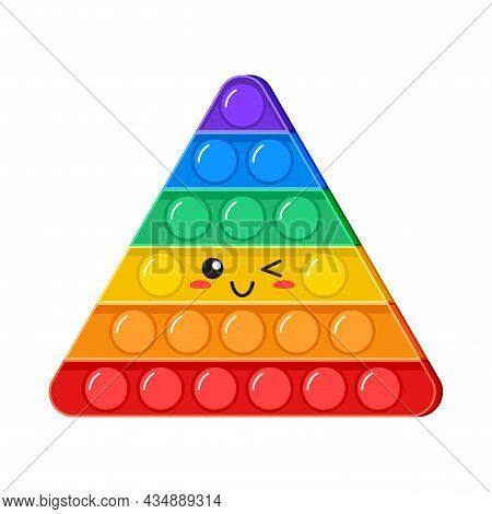 Popit Kawaii Wink Vector Toy, Rainbow Push Bubbles, Sensory Game, Fidget Character. Antistress Finge