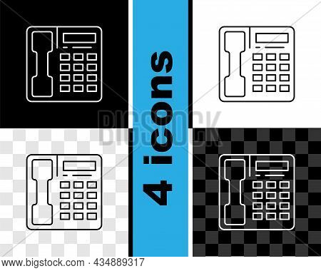 Set Line Telephone Handset Icon Isolated On Black And White, Transparent Background. Phone Sign. Vec
