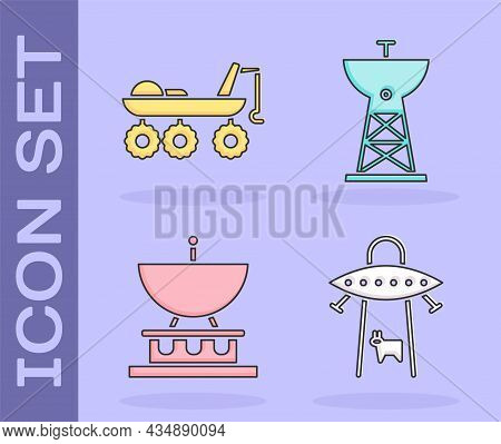 Set Ufo Abducts Cow, Mars Rover, Satellite Dish And Satellite Dish Icon. Vector