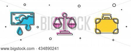 Set Bloody Money, Scales Of Justice And Briefcase And Icon. Vector