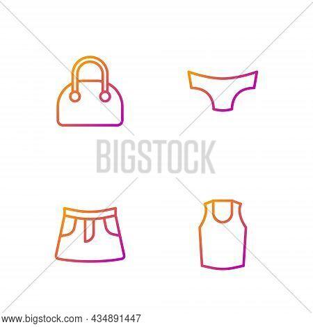 Set Line Undershirt, Skirt, Handbag And Men Underpants. Gradient Color Icons. Vector