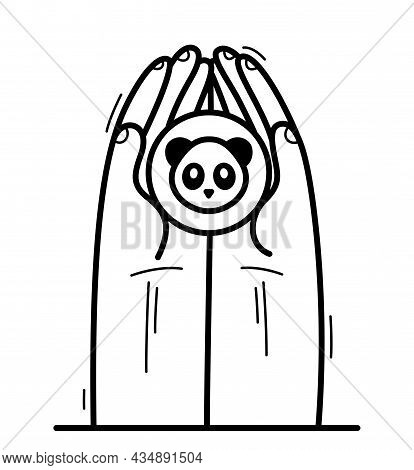 Two Hands With Panda Bear Protecting And Showing Care Vector Flat Style Illustration Isolated On Whi