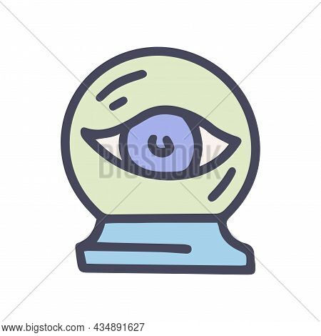 Crystal Ball With Eye Color Vector Doodle Simple Icon