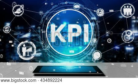 Kpi Key Performance Indicator For Business Conceptual - Modern Graphic Interface Showing Symbols Of