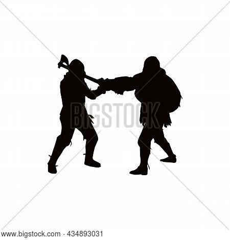 Silhouette Of Fighting Knights Solid Black Line Icon On White Background. Trendy Flat Isolated Symbo