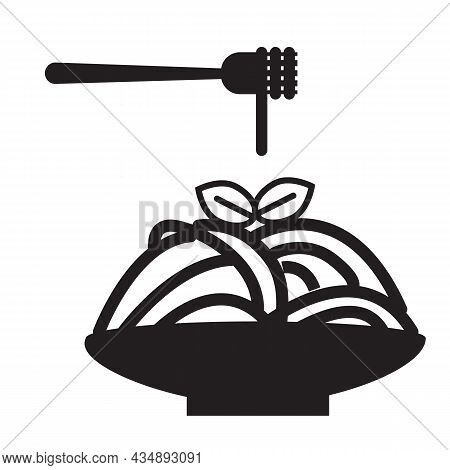 Spaghetti Pasta Icon On White Background. Pasta On Fork Sign. Italian Pasta On Fork And Plate Symbol
