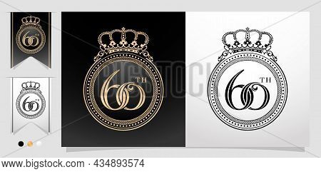 Illustration Of 60th With Circle Frame And Crown. Ellipse Frame Element With Color Gold Isolated Bac