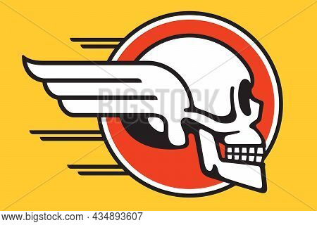 Flying Skull Circular Badge Design With Wings And Speed Lines. Vector Illustration Of Human Skull Wi