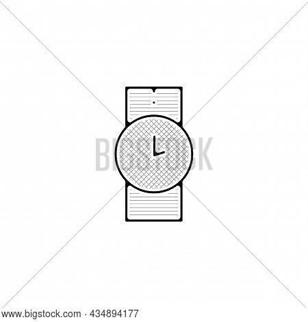 Wrist Watch Vector Thin Line Icon. Watch Hand Drawn Thin Line Icon.