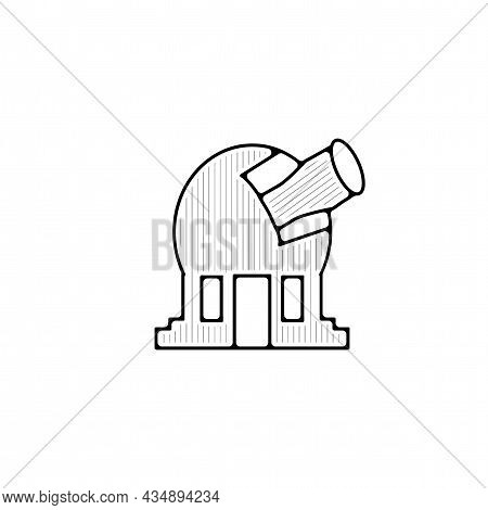 Observatory Telescope Vector Thin Line Icon. Observatory Telescope Hand Drawn Thin Line Icon.