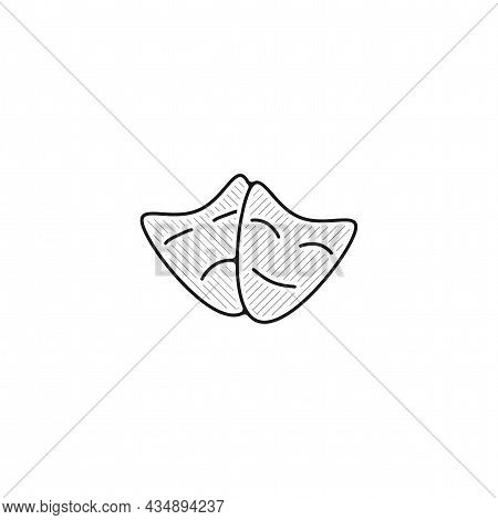 Theater Masks Vector Thin Line Icon. Theater Mask Sad And Happy Hand Drawn Thin Line Icon.