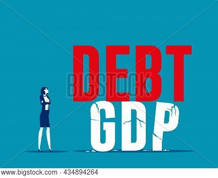 Bankruptcy Business High Risk Of Debt Bloat Concept. Debt To Gdp Crisis