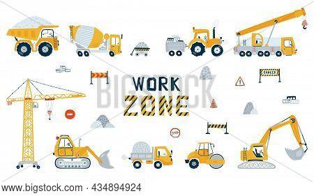 Set Construction Vehicle Isolated On White Background. Illustration With Yellow Cars Truck, Bulldoze